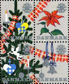 デンマーク・クリスマス・シール1961年 屋外と室内のクリスマスツリー Christmas Seal of Denmark
