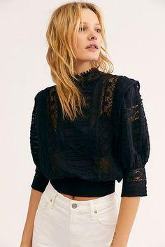 FP One Sydney Blouse - Black Lace Blouse - Black Lace Three Quarter Length Blouse - Black Lace Long Sleeve Tops - Lace Blouses - Boho Lace Tops Source by freepeople boho Black Lace Blouse, Black Lace Tops, Black Blouse Outfit, Blouse Dress, Cotton Blouses, Women's Blouses, Ladies Dress Design, Blouses For Women, Vintage Outfits