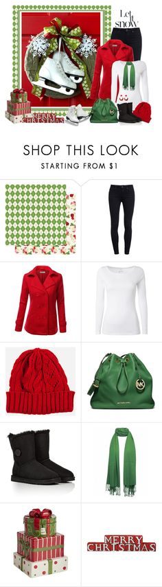 """""""Christmas wreath"""" by miradawnp ❤ liked on Polyvore featuring Paige Denim, J.TOMSON, White Stuff, MICHAEL Michael Kors, UGG Australia and Pier 1 Imports"""