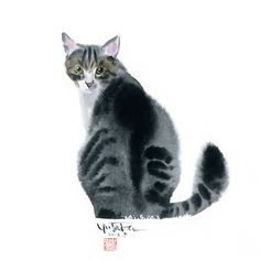 Watercolour by Japanese artist Yutaka Murakami (Murakami Yutaka 村上豊) Watercolor Cat, Watercolor Animals, Cat Drawing, Crazy Cats, Asian Art, Cat Art, Japanese Art, Pet Birds, Animals And Pets