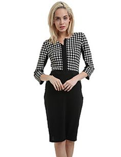 Women's Vintage Round Collar Zip Closure Check Half Sleeve Pencil Dress