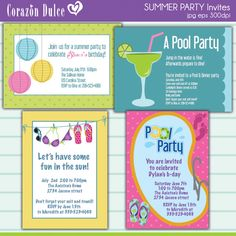 Invitations & Greetings - SUMMER PARTY INVITES - MYGRAFICO - DIGITAL ARTS AND CRAFTS STORE