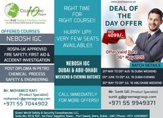 Green World Group Provides exclusive Deal of the Day Offer for Dubai & Abudhabi NEBOSH IGC Batches.   Join NEBOSH IGC & Get 14 + 1 HSE Certificates Free.. @ AED 4099/-  Hurry Up Only Few Seats Available ...   For more Details please visit http://greenwgroup.ae/