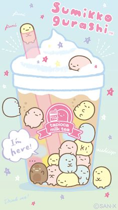 Characters shop laughlaugh notebook drink cup with goods clear holder pocket rakuten global market Chibi Kawaii, Kawaii Doodles, Cute Doodles, Cute Chibi, Kawaii Art, Sanrio Wallpaper, Wallpaper Kawaii, Cute Wallpaper Backgrounds, Cute Food Drawings