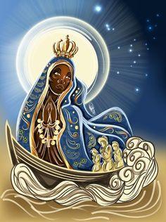 NS Aparecida by OradiaNCPorciuncula on DeviantArt Obatala Santeria, Divine Mother, Mother Mary, Lotus Art, Spirited Art, Black Artwork, Orisha, Magic Art, Afro Art