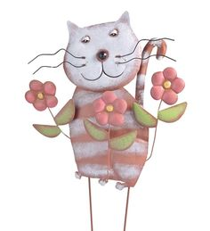 WindWeather Metal Cat With Flowers Garden Stake Whimsical in Spring 2013 from Wind & Weather on shop.CatalogSpree.com, my personal digital mall.