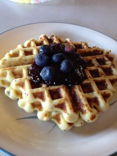 Low carb waffles (these are lemon poppyseed, but the basic recipe should work for many flavous)