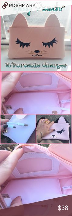 Kitty Pouch with built in portable phone Charger🐱 Cute light pink kitty cat pouch. Zipper top closure (gold hardware) Two gold hooks on the side so u can attach a strap if u want (not included) interior has a ID slot and portable charger attached. Can not be removed but can be taken out of the pouch to charge & hook up. Lots of room for your iPhone, money, CC, lipstick! So cute! Great for a kids birthday present that has a phone...or if u like cats-this is for you!!! 🐱MEOW🐾PLEASE ASK ANY…