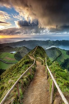 Trail at Sete Cidades Crater on Sao Miguel island, in the Azores, Portugal