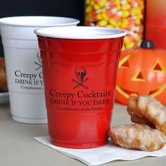 Custom printed solo cups for Halloween party decorations. Add a creepy saying or recipe. Cute