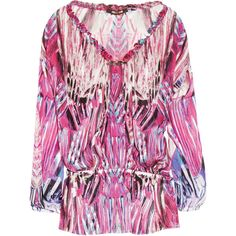 Roberto Cavalli Printed silk-chiffon top ($584) ❤ liked on Polyvore