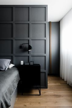 grey bedrom with hotel curtains - Leveson Street Residence by HA Architects