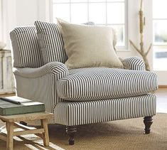 Carlisle Upholstered Armchair #potterybarn In Brushed Canvas in Harbor Blue