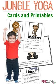 Kids yoga with a jungle theme.  Pose like a monkey or lion!  Cards and printables in the pack!