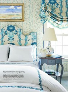 Bedroom - Quadrille Rio wallpaper and Henriot Floral headboard and London Shade (Christopher Maya-House Beautiful) Blue Bedroom, Bedroom Decor, Bedroom Ideas, Kids Bedroom, Master Bedroom, Bedroom Wall, Georgian Homes, Beautiful Bedrooms, House Beautiful