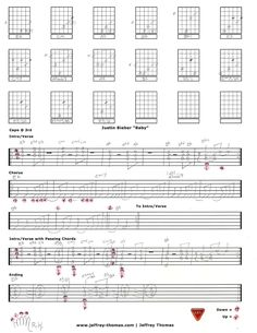 "Learn to play ""Baby"" by Justin Bieber on guitar with my free tab and video guitar lesson.  I have arranged the correct keyboard chord voicings to the guitar and show the intro, verse, chorus and other playing tips.  Fingerstyle technique and pick strum explanation.  This is a great arrangement for one guitar if you are backing up a singer."