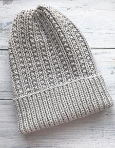 Beginner Knitting Patterns, Loom Knitting, Knitting Stitches, Knit Patterns, Knitting Socks, Knitted Hats, Crochet Men, Crochet Winter, Crochet Hats