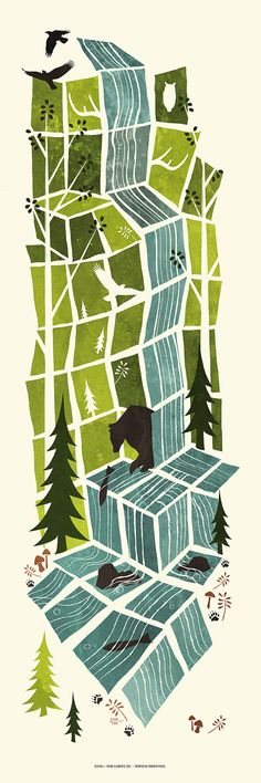 Bear in the Woods - illustration by Frida Clemens. (I created an illustration board finally just to add this. It's not 'art' and not 'design' but a perfect mix.) illustration This item is unavailable Art And Illustration, Graphic Design Illustration, Illustrations Posters, Graphic Art, Landscape Illustration, Art Graphique, Art Plastique, Photomontage, Printmaking