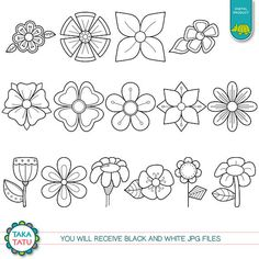 Best 12 Digital Garden Digital Stamp Pack – Black and White Clipart / Flowers Clip Art / Black and White Pri Beaded Flowers Patterns, Native Beading Patterns, Beadwork Designs, Native Beadwork, Native American Beadwork, Hand Embroidery Patterns, Applique Patterns, Zentangle Patterns, Beaded Embroidery