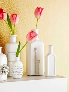Paint wine bottles to use as a vase