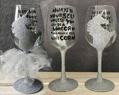 Unicorn Quote Glitter Wine Glass