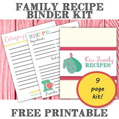 Free Printable Family Recipe Binder Kit From The Bright Side of Reality. Organize your recipes. Makes an awesome gift idea for food lovers. DIY