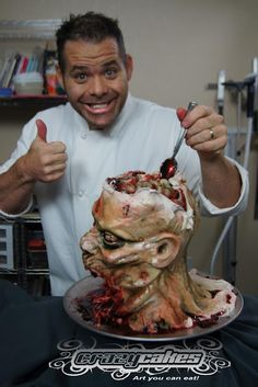 Zombie cake (lightbulb! plastic skull with top cut off for serving dip)