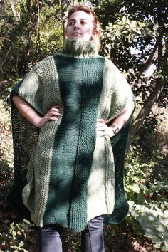 Hand knitted Dark Green Khaki Long Mohair Pancho by Arzus on Etsy, $150.00