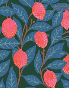 Lemons Wallpaper - Peacock Roll Dimensions: 27 inches wide x 27 feet long untrimmed square feet) Repeat Type: Straight (visit our FAQs to understand what a repeat is) Repeat Pattern S Textile Pattern Design, Textile Patterns, Print Patterns, Floral Patterns, Modern Patterns, Japanese Patterns, Cool Patterns, Eco Friendly Paper, Pattern Wallpaper