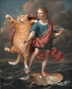 FatCatArt.ru -Famous Paintings Improved by Cats (Karel Dujardin, Boy Blowing Soap Bubbles and Cat hunting for them. Allegory on the Transitoriness and the Brevity of Life)