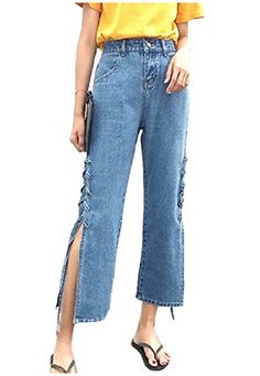 ouxiuli Womens Stylish 3D Floral-Print Penicl Denim Pants Jeans
