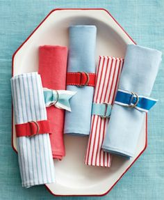 Grosgrain ribbon + 2D rings for easy summer napkin rings