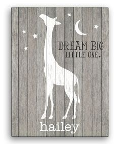 Dream big little one personalized elephant canvas personalized another great find on zulily gray giraffe dream big little one personalized negle Image collections