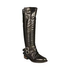 SAVIORR BLACK LEATHER women's boot flat casual - Steve Madden