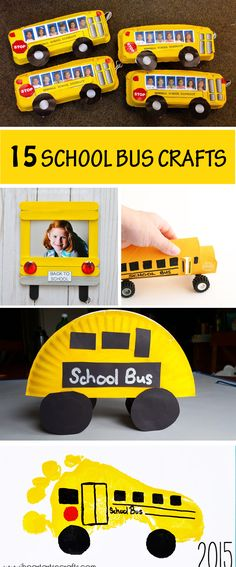 School bus crafts. Easy back to school crafts for preschoolers, kindergartners and older kids. Use paper plates, egg cartons, paper rolls, craft sticks and more. #schoolbus #backtoschool