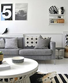 grey and monochrome living room
