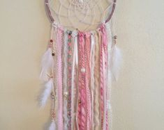 Pretty in Pink Bohemian Dream Catcher Dream Catcher Craft, Large Dream Catcher, Dream Catchers, Angel Wings Decor, Crochet Dreamcatcher, Boho Wedding Decorations, Ring Pillow, Vintage Fabrics, Arts And Crafts
