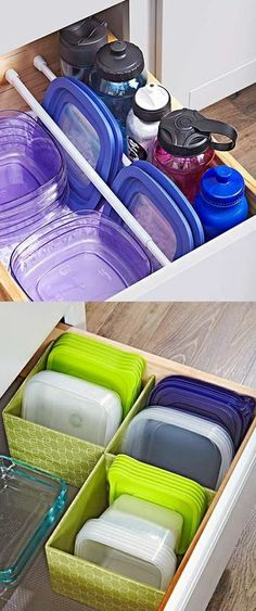 Utilize every inch of cabinetry space with these genius food storage container hacks that will keep your supplies organized and easy to access. Sliding Storage Trays Tired of blindly fumbling around in a dark cabinet for containers and lids? Organisation Hacks, Diy Organization, Organizing Ideas, Kitchen Cabinet Organization, Kitchen Storage, Kitchen Cabinets, Kitchen Hacks, White Cabinets, Kitchen Ideas
