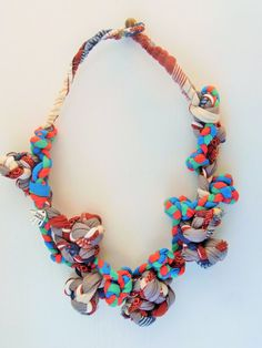 colorful fabric necklace, bib necklace, spring necklace, statement jewelry , fabric jewelry, urban jewelry, spring trend, gift for her