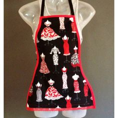 Little girls- hour glass apron w red and black dresses & red lace. At the bottom. Http://www.jsaprons.com/ $15