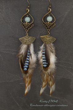 """Boucles d'oreille plumes """"Lenna"""" - Plumes perles et bronze"""