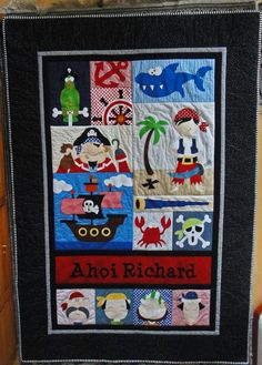 Birgitt from Germany made this quilt from Amy Bradley Designs Pirates pattern.  She used the quilt as you go method and fixed a second layer of batting and the back by means of hand stitiching.