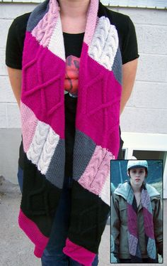 Free Knitting Pattern for Twilight - Bella's Baseball Patchwork Scarf - Maggie Fangmann's recreation of Bella's cable patchwork scarf is constructed of eleven pieces.
