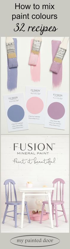 32 Recipes for Mixing Custom Colours Using Fusion Mineral Paint These little chairs and hat box were painted by mixing custom colours of Fusion Mineral Paint. Fusion offers 32 recipes that make mixing your own custom colours very simple! Furniture Painting Techniques, Paint Furniture, Painting Tips, House Painting, Paint Techniques, Furniture Ideas, Chalk Painting, Furniture Refinishing, Furniture Makeover
