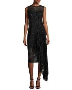 Katia+Sleeveless+Asymmetric+Sequined+Tulle+Sheath+Dress,+Black+by+Milly+at+Neiman+Marcus.