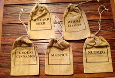 Primitive Spice Bags by hootnanniesbyjeanne on Etsy, $10.00