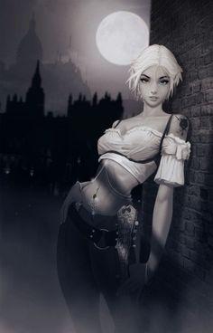 f Half Elf Bard lute urban city streets night full moon Dark fantasy character Fantasy Women, Fantasy Girl, Dark Fantasy, Dnd Characters, Fantasy Characters, Female Characters, Fantasy Character Design, Character Inspiration, Character Art