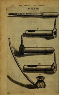 Armamentarium Chirurgium by Johannes Scultetus, 1656 (https://www.pinterest.com/pin/287386019949686299/). Tabula XVI.