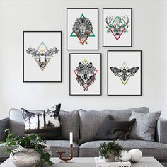 Modern Vintage Retro Black White Deer Lion Head Animals Art Print Poster Hippie Wall Picture Canvas Painting No Frame Home Decor