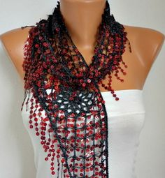ON SALE  Sequin Scarf Floral  Women Shawl Scarf  by fatwoman,